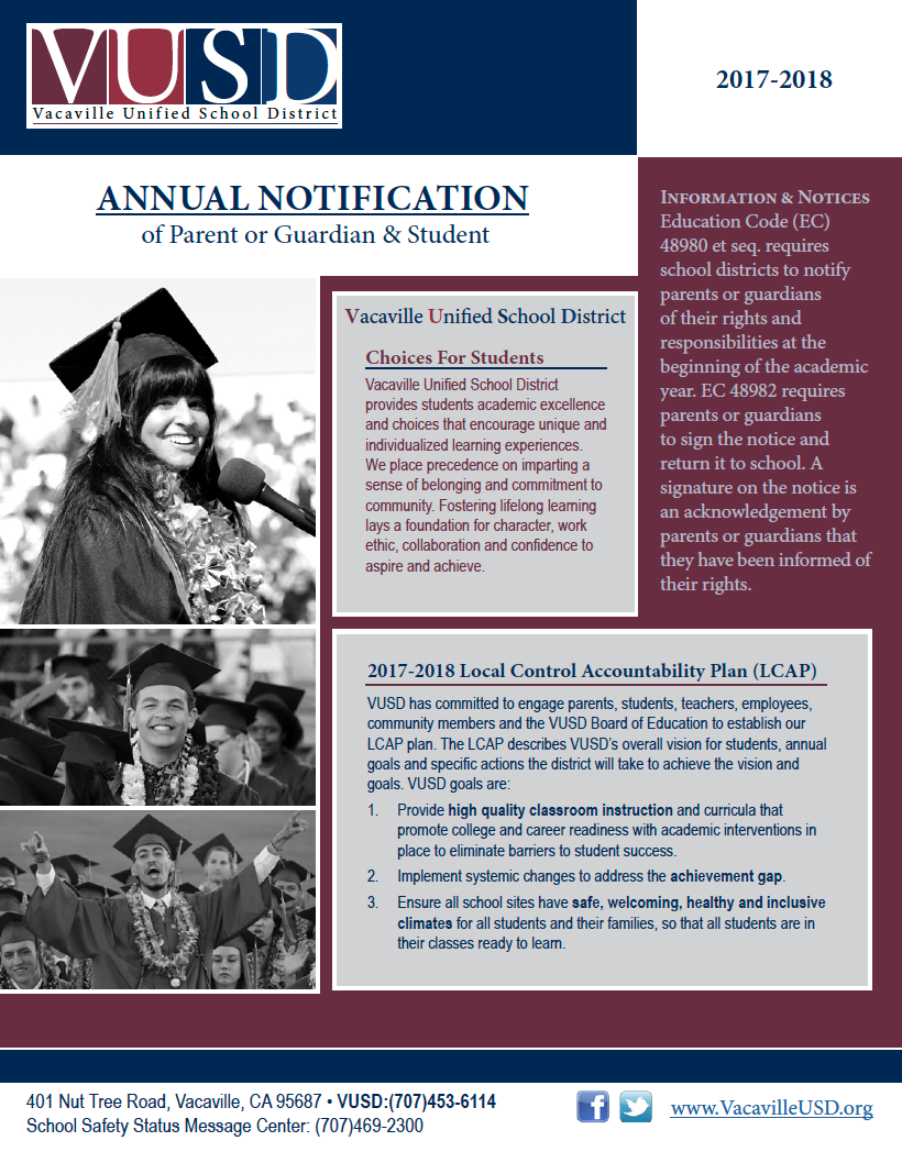 cover of VUSD Annual Notification