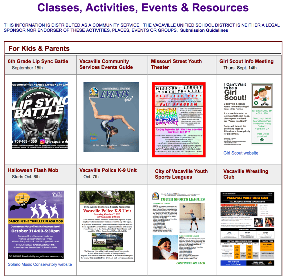community bulletin board webpage