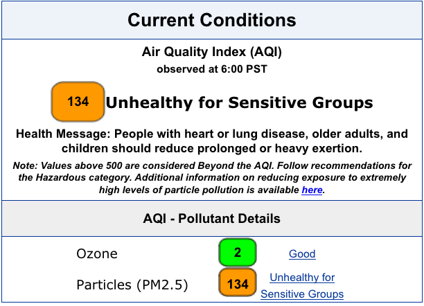 current air quality conditions at 134