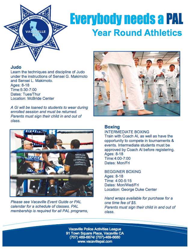 PAL Judo and Boxing flyer