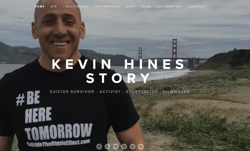 image of Kevin Hines website