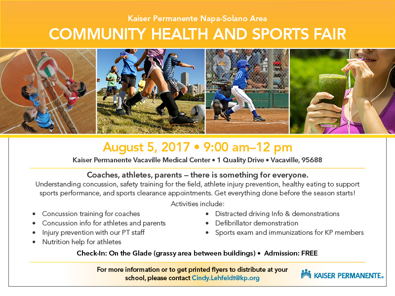Community Heath and Sports Fair August 5th