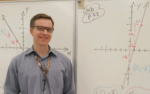 Teacher standing next to whiteboard