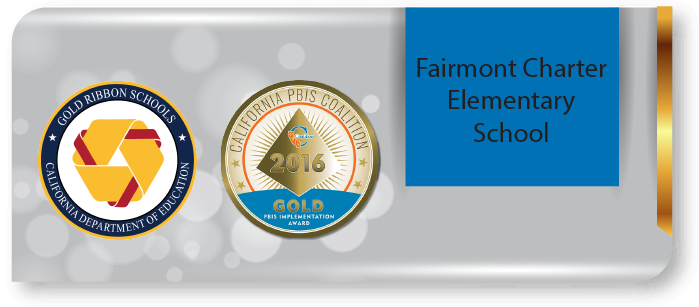 Fairmont charter banner with Gold Ribbon and PBIS logos